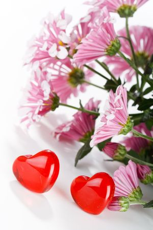 Flowers with hearts