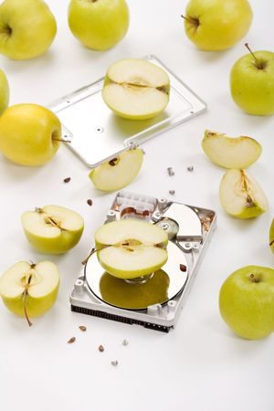 hard disk drive with green apples photo