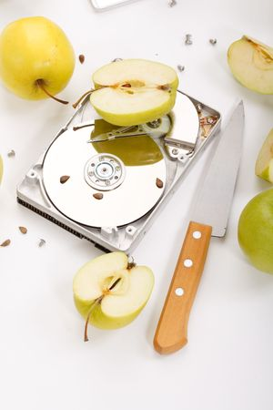 hard disk drive with green apples Stock Photo - 6598759
