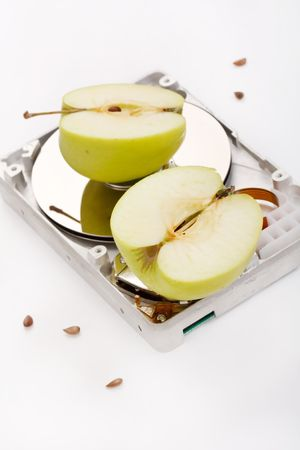 databank:  hard disk drive with green apples Stock Photo