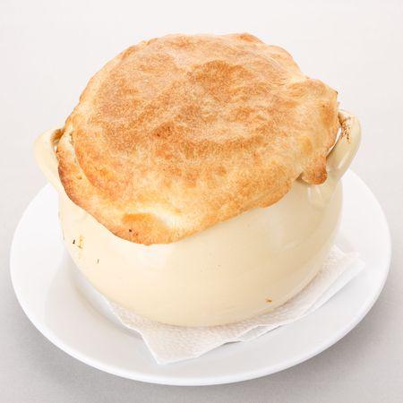 meat pie:   Chicken pot pie Stock Photo
