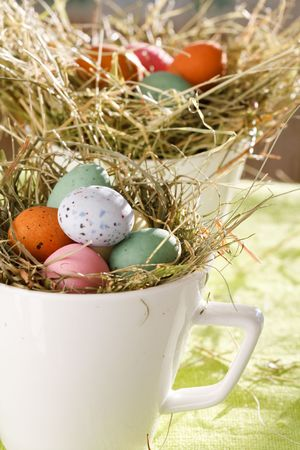 oeufs en chocolat: Oeufs de P�ques en chocolat dans le nid.