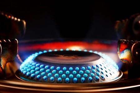 combust: Blue flame of gas burner
