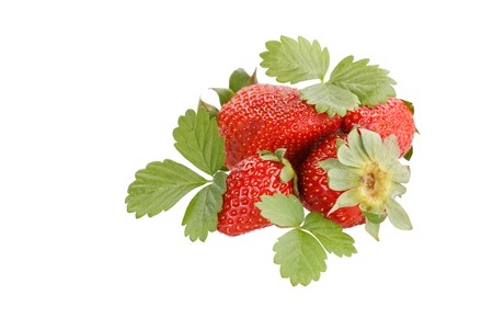 red strawberry with green leaves Stock Photo - 6869453