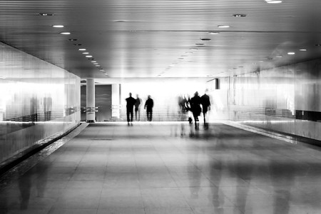 motion blurred of people walking in subway  Stock Photo - 6929296