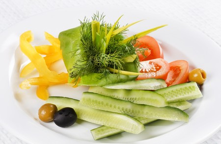 Plate of assorted fresh vegetable photo