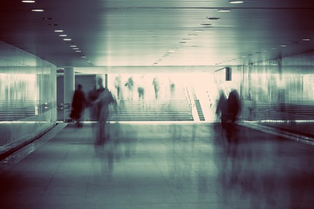 motion blurred of people walking in subway Stock Photo - 6936119