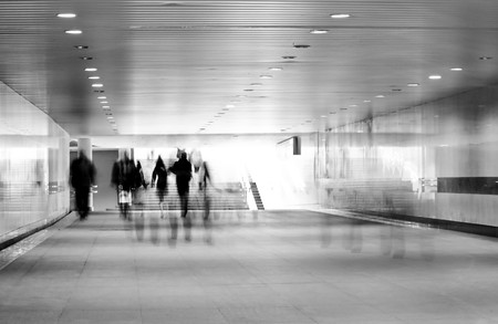 motion blurred of people walking in subway Stock Photo - 6936184