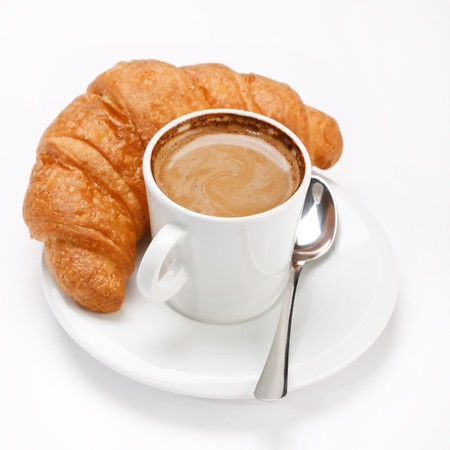 sweet pastries: coffee and croissant