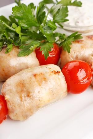 Roasted kebab with vegetables photo