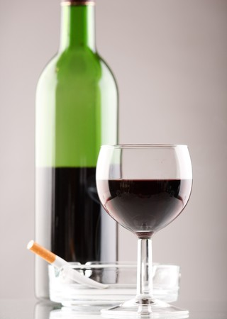 Wine  with cigarette  Stock Photo - 7186808