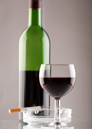Wine  with cigarette Stock Photo - 7207160