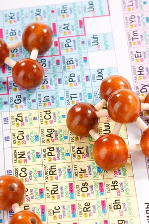 Periodic table of chemical elements with wood molecule  photo