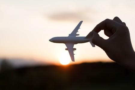 toy plane: plane at sunset