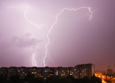 forked: forked lightning by night Stock Photo