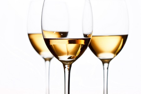 tasting: Glasses of white wine