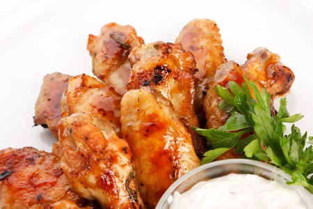 and chicken wings: Chicken wings with sauce Stock Photo