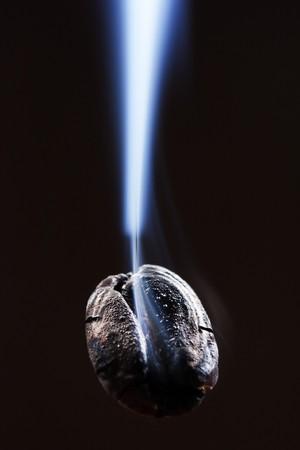 coffee bean with smoke  photo