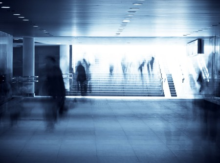 motion blurred of people walking in subway  Stock Photo - 7528082