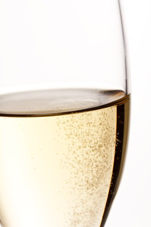 gold flute: A glass of champagne Stock Photo