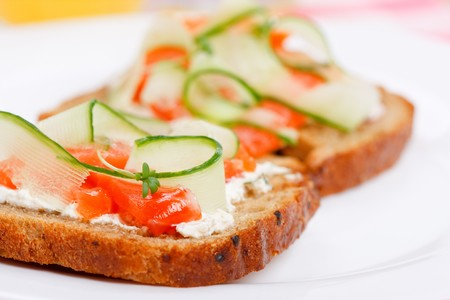 fresh slice of bread: Toast with vegetables and fish  Stock Photo
