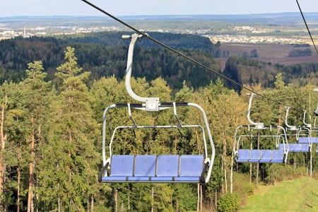 ski runs: Chair lifts for the ski runs at Silichy in Lagojshchyna, Belarus Stock Photo