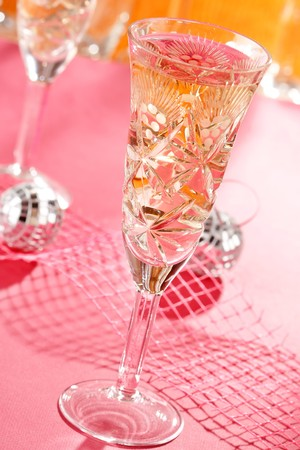 s eve: Champagne glasses on celebration table Stock Photo