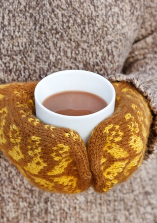 hot chocolate in the hands photo