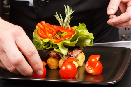 garnish: professional chef garnish tasty dish