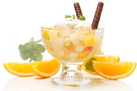 Fresh fruits salad with mint Stock Photo