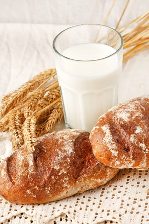 fresh bread on the table photo