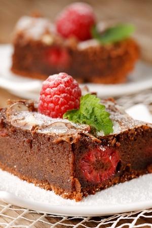 chocolate cake with raspberry photo