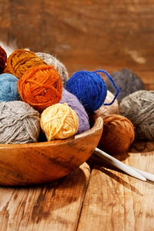 gomitoli di lana: maglia di lana Archivio Fotografico