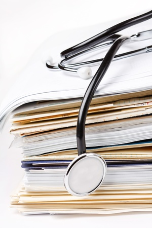 card file: stethoscope on the stack of paper