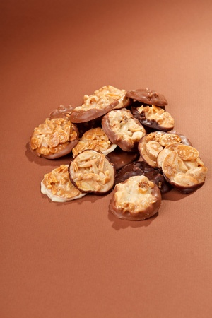 chocolate sweets with almond photo