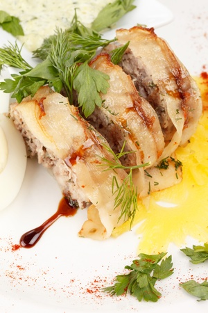meat pie with egg and sauce photo