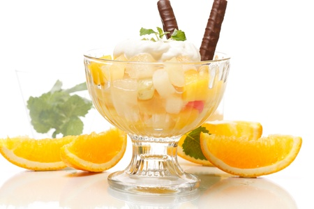 Fresh fruits salad with mint  photo