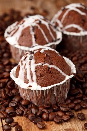 chocolate muffins with coffee photo