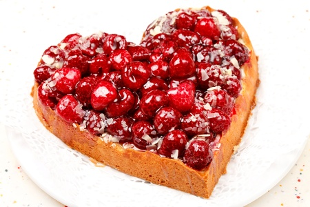sweet heart: sweet cake in heart shape Stock Photo