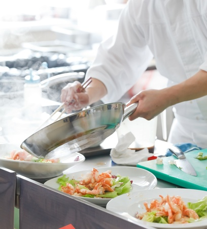 chef cocinando: Cocinero, preparaci�n de alimentos