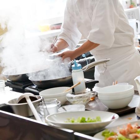 japanese cooking: Chef preparing food