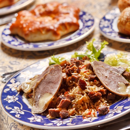 horse meat: Uzbek national dish - plov with horse meat