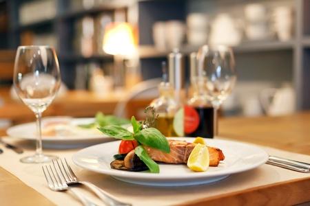 dining: salmon steak  Stock Photo