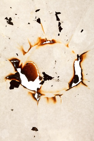 Burn hole in  paper  photo