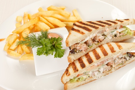 Sandwiches with French fried potatoes photo