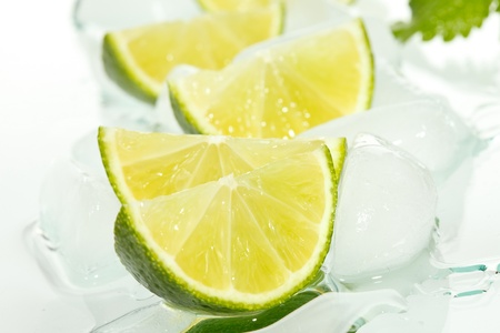 limes and ice cubes  photo