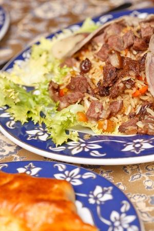 uzbek: Uzbek national dish - plov with horse meat
