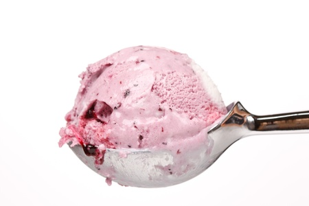 ice cream glass: ice cream in spoon  Stock Photo
