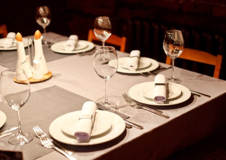 Tables set for meal Stock Photo - 9624896