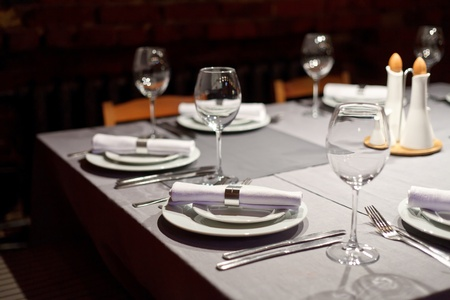 Tables set for meal Stock Photo - 9670134